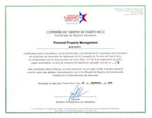Certificado Registro Hostelero