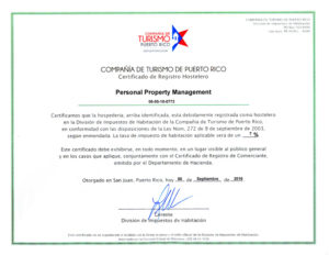 Certificado Registro Hostelero